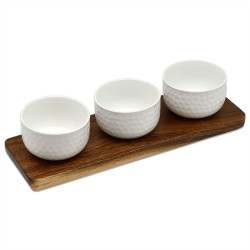 Argon Dip Bowl Set 3 Acai Wood