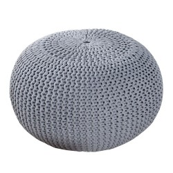 Pletený puf INVICTA šedý 50cm
