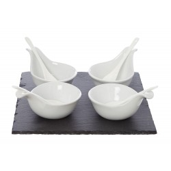 Linea Slate Dip Bowl and Spoon Set